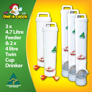 Our Super Saver Kit is the most economical way to fit-out your new chicken coop with the longest-lasting drinkers and feeders. Containing 3 feeders and 2 drinkers, this kit suits medium and large flocks. Dine a Chook Chicken Feeding Ireland.
