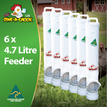 Dine a Chook's ® Bulk No-Waste Chicken Feeder Kit is now available in the UK. Buy a 6 pack of our 4.7 Litre Feeders for a low maintenance chook pen. Australia's favourite feeder, shipped from Ireland.