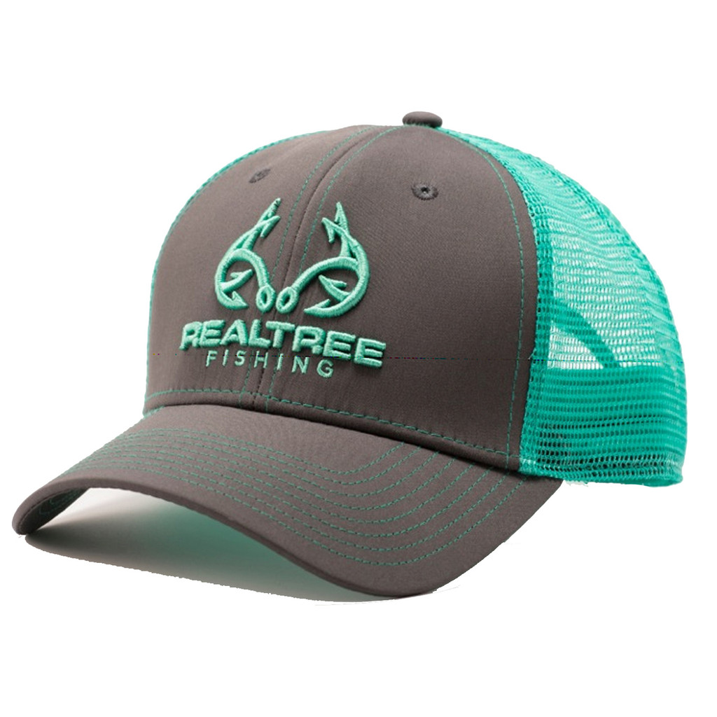 Custom realtree mint fishing logo mesh back hat realtree for Mesh fishing hats