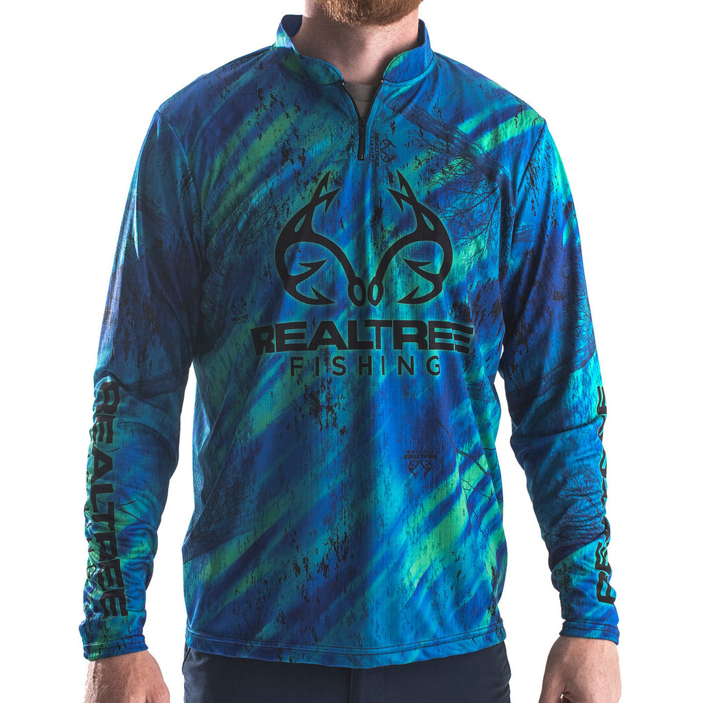 Professional Realtree Fishing Blue Banded Zipper Jersey
