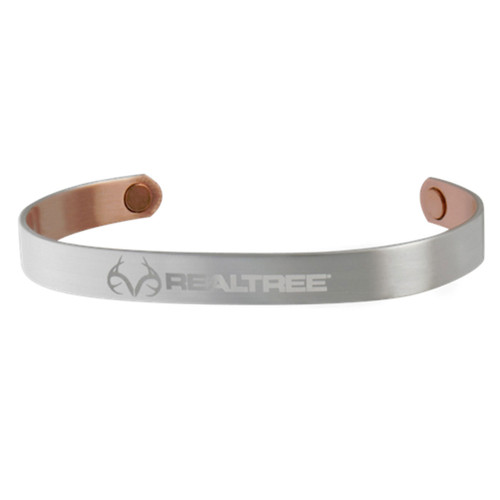 Realtree Brushed Silver Plated Copper Magnetic Wristband