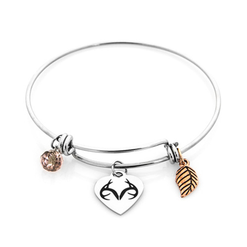 Realtree Charm Bangle Stainless Steel Bracelet