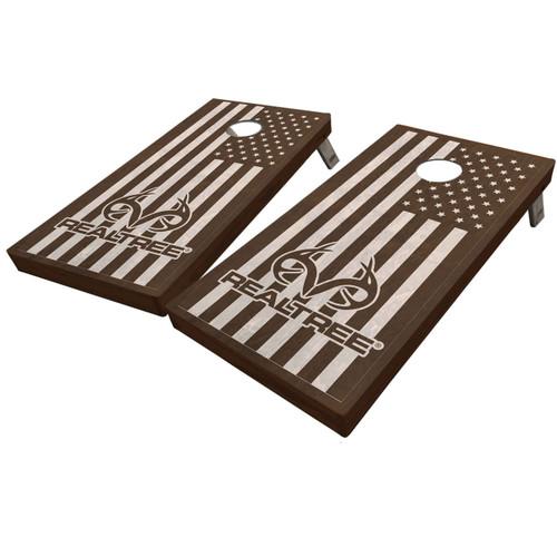 Realtree Stained American Flag Antler Logo Cornhole Boards