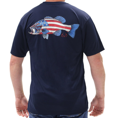 Realtree Fishing Americana Bass Navy Shirt