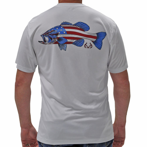 Realtree Fishing Americana Bass White Shirt