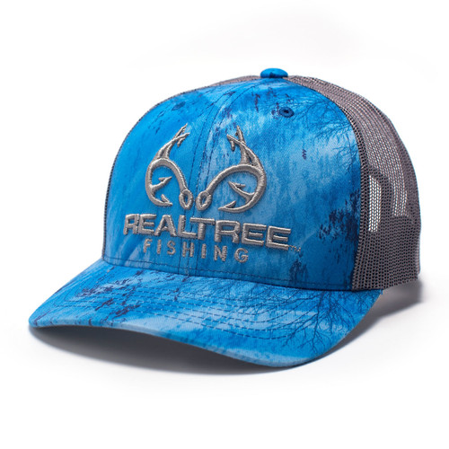 Realtree Logo Blue Fishing Pattern Hat