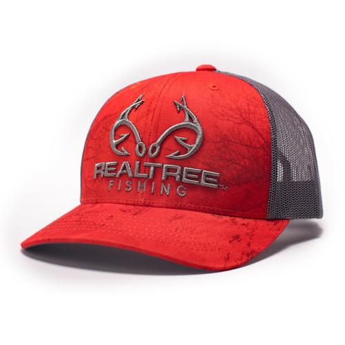 Realtree Logo Red Fishing Pattern Hat