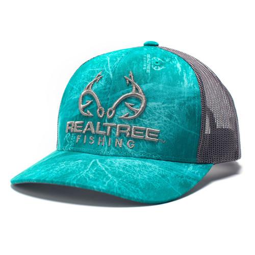 Realtree Logo Teal Fishing Pattern Hat