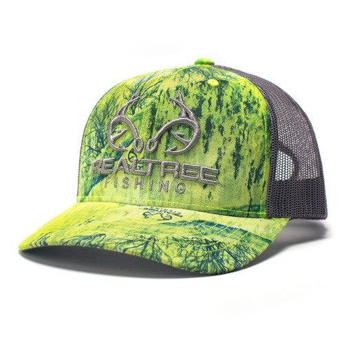 Realtree Logo Chartreuse Fishing Pattern Hat