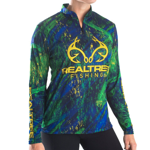 Professional Women's Realtree Navy Fishing Banded Zipper Jersey