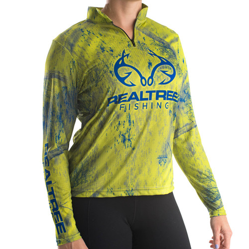 Professional Women's Realtree Fishing Green Banded Zipper Jersey