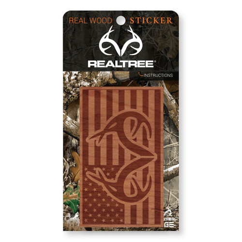 Wooden Americana Realtree Antler Logo Sticker