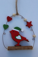 Nordic bird on a perch decoration