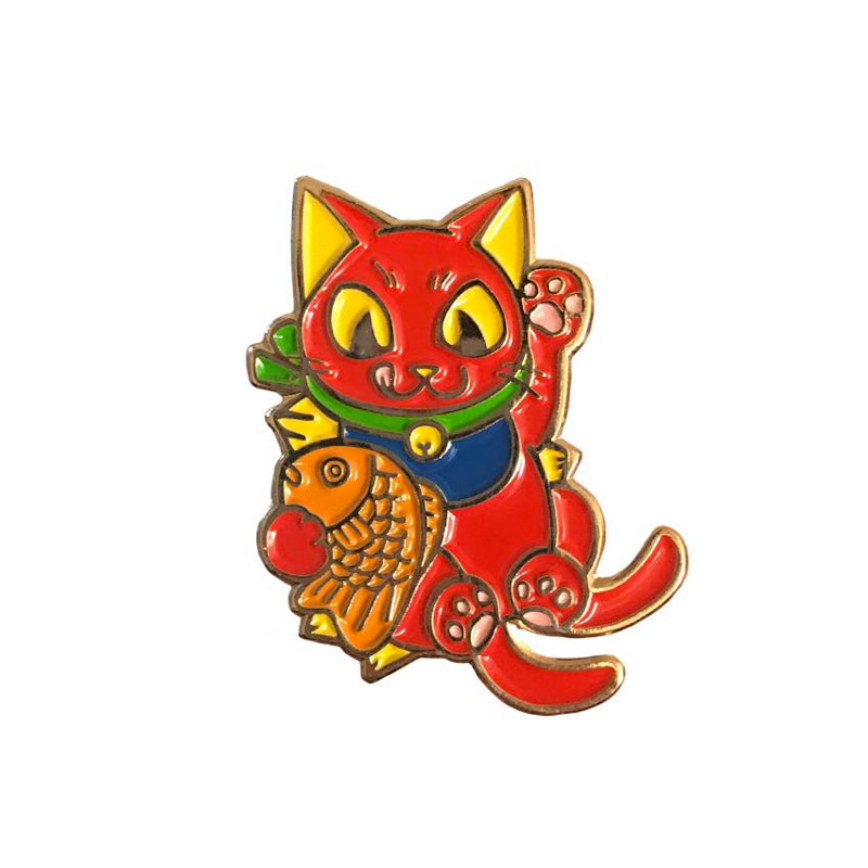 Negora Taiyaki Pin : Red and Gold