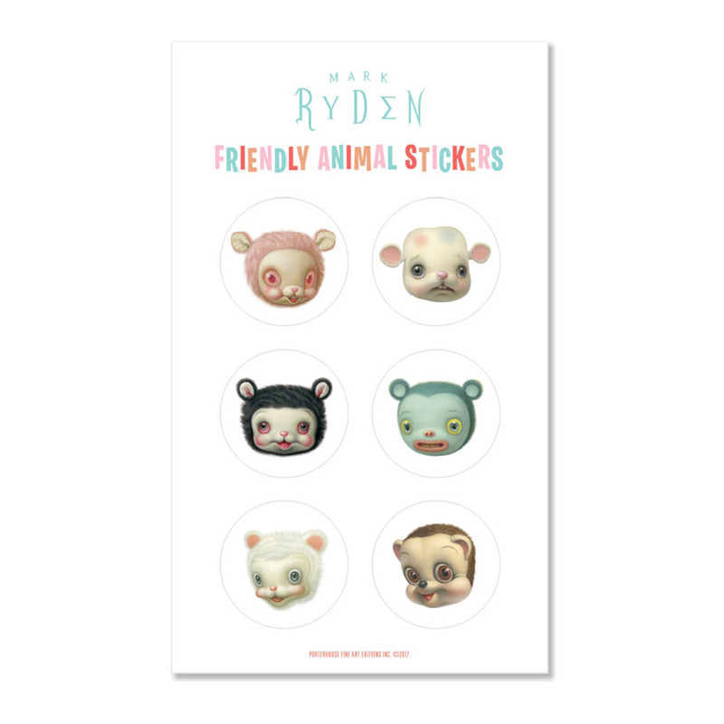 Friendly Animal Sticker Sheet by Mark Ryden