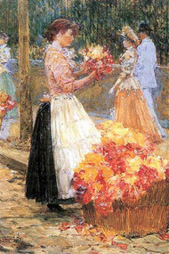 Woman Sells Flowers by Hassam