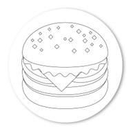 Emoji One COLORING Wall Graphic: Circle Hamburger