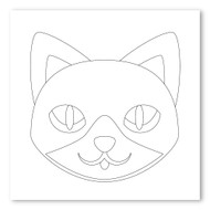 Emoji One COLORING Wall Graphic: Square Cat Face