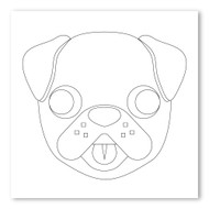Emoji One COLORING Wall Graphic: Square Dog Face