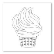 Emoji One COLORING Wall Graphic: Square Ice Cream