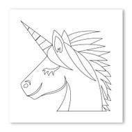 Emoji One COLORING Wall Graphic: Square Unicorn Face