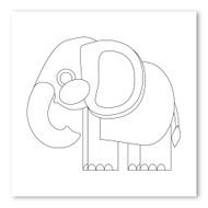 Emoji One COLORING Wall Graphic: Square Elephant