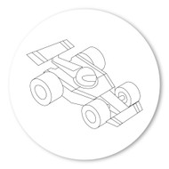 Emoji One COLORING Wall Graphic: Circle Racing Car
