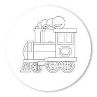 Emoji One COLORING Wall Graphic: Circle Steam Locomotive