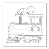 Emoji One COLORING Wall Graphic: Square Steam Locomotive
