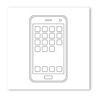 Emoji One COLORING Wall Graphic: Square Mobile Phone