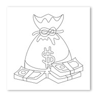 Emoji One COLORING Wall Graphic: Square Money Bag