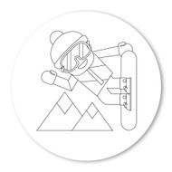 Emoji One COLORING Wall Graphic: Circle Snowboarder