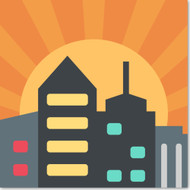 Emoji One Travel & Places Wall Icon: Sunset Over Buildings