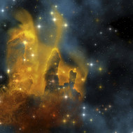 A Colorful Nebula Shines Bright With Star Making In Its Clouds