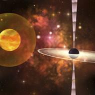 Huge Sun Encircled By An Energy Field Orbits Near A Black Hole