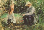 Eugene Manet and His Daughter in the Garden by Monet