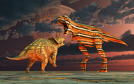 Robotic T Rex & Triceratops Battle To The Finish