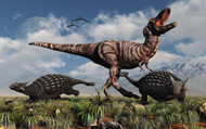 Ankylosaurus Dinosaurs Defend Themselves Against A T-Rex