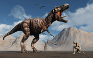 The First Man, Adam, Kneels Down Before The Famous T-Rex Dinosaur