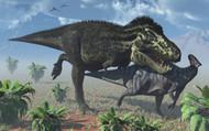 Tyrannosaurus Rex Hunting A Lone Parasaurolophus Duckbill Dinosaur