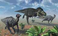 Tyrannosaurus Rex Attacking A Herd Of Parasaurolophus Duckbill Dinosaurs