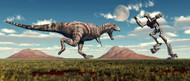 Science Fiction Scene Of A Tyrannosaurus Rex Battling A Giant Robot