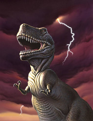 A Tyrannosaurus Rex With A Red Stormy Sky And Lightning Behind It