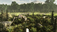 Lurdusaurus And Nigersaurus Dinosaurs Grazing A Prehistoric Forest