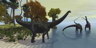 Three Diplodocus Dinosaurs Visit An Island In The Prehistoric Era