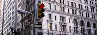 Red Traffic Light on Wall Street