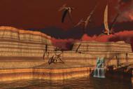 Pteranodon Dinosaurs In A Prehistoric Landscape