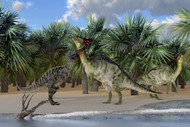 An Olorotitan Mother Is Attacked By A Suchomimus Dinosaur