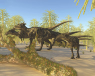 A Herd Of Dracorex Dinosaurs Walk Through A Carboniferous Forest
