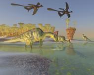 Olorotitan Eat Duckweed In A Large Swamp As Two Microraptors Fly Above